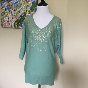 Mint green sequined sweater